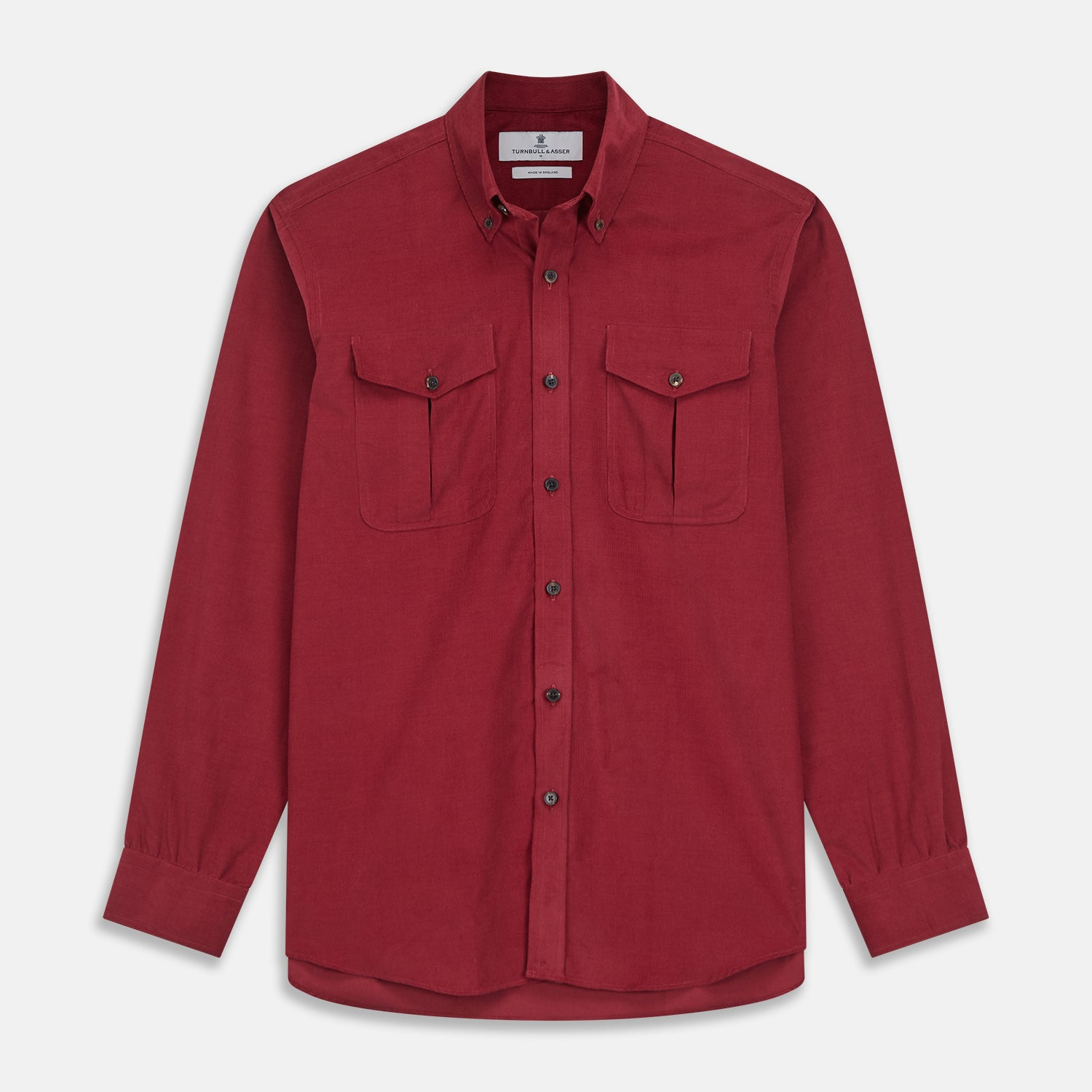 Burgundy Corduroy Officer Weekend Fit Shirt with Dorset Collar and One-Button Cuffs