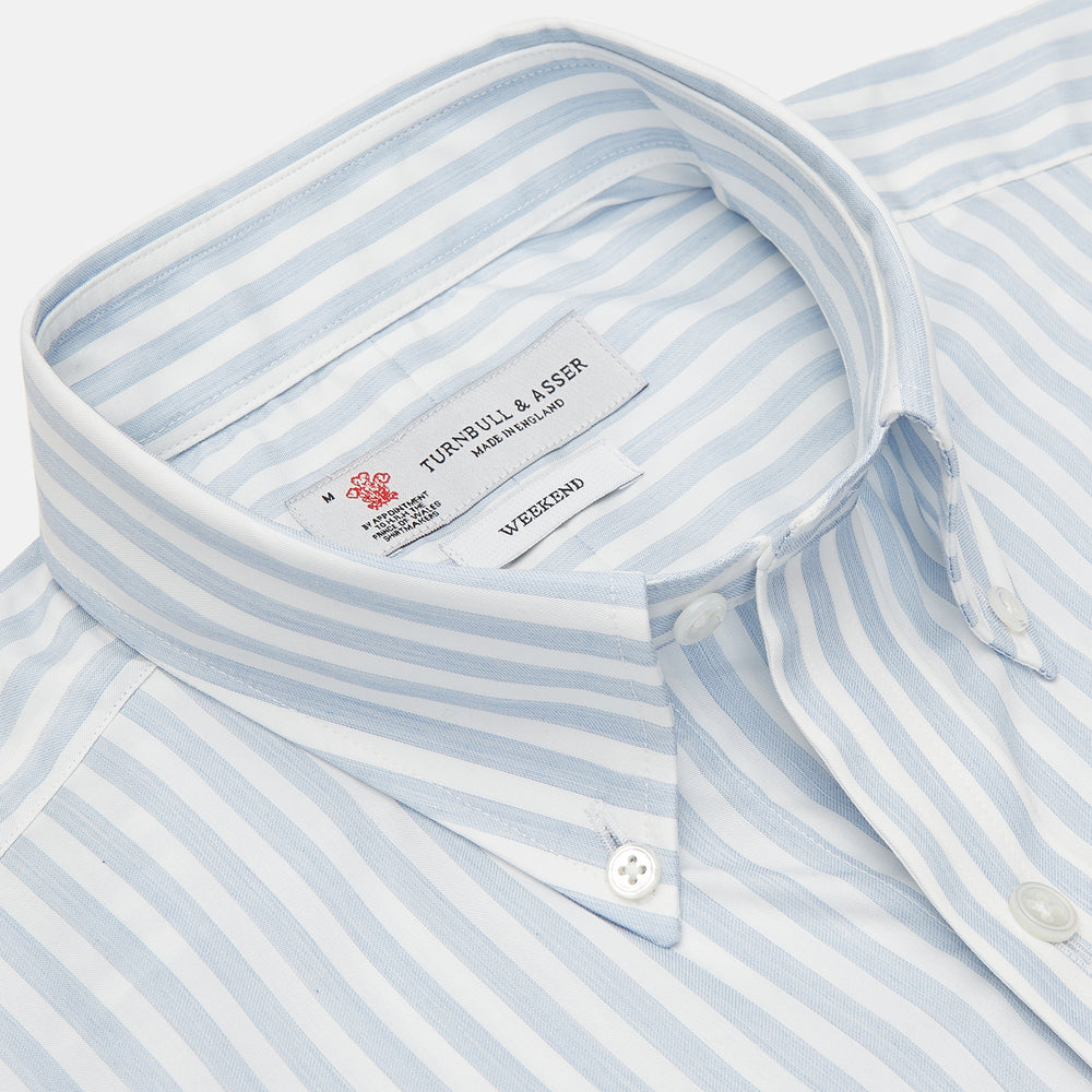 Weekend Fit Blue Stripe Cotton Shirt with Dorset Collar and 1-Button Cuffs
