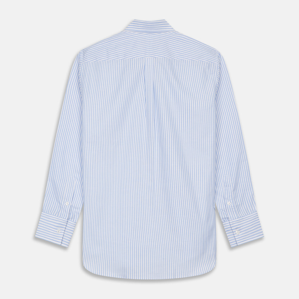 Blue and White Fine Stripe Oxford Weekend Fit Shirt with Dorset Collar and 1-Button Cuffs