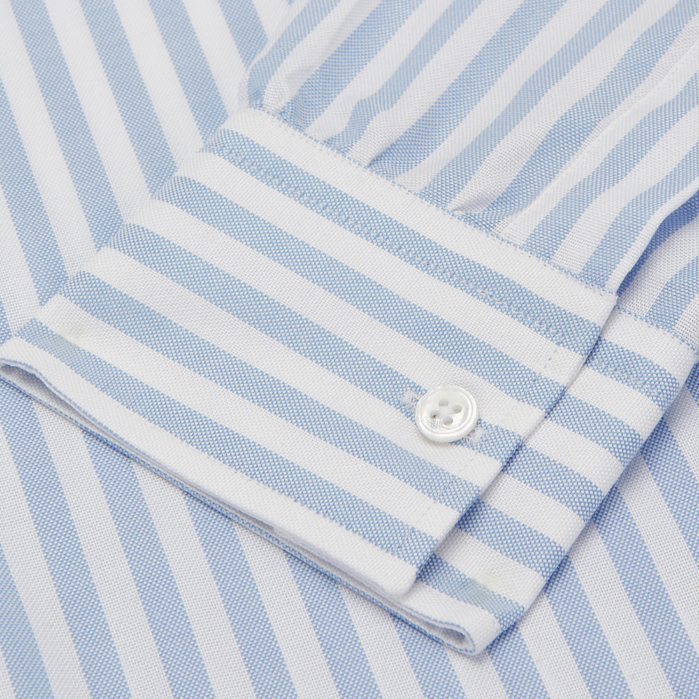 Blue and White Bengal Stripe Oxford Weekend Fit Shirt with Dorset Collar and 1-Button Cuffs