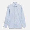 Blue & White Twill Cotton Stripe Tailored Fit Shirt with Bury Collar and 3-Button Cuffs
