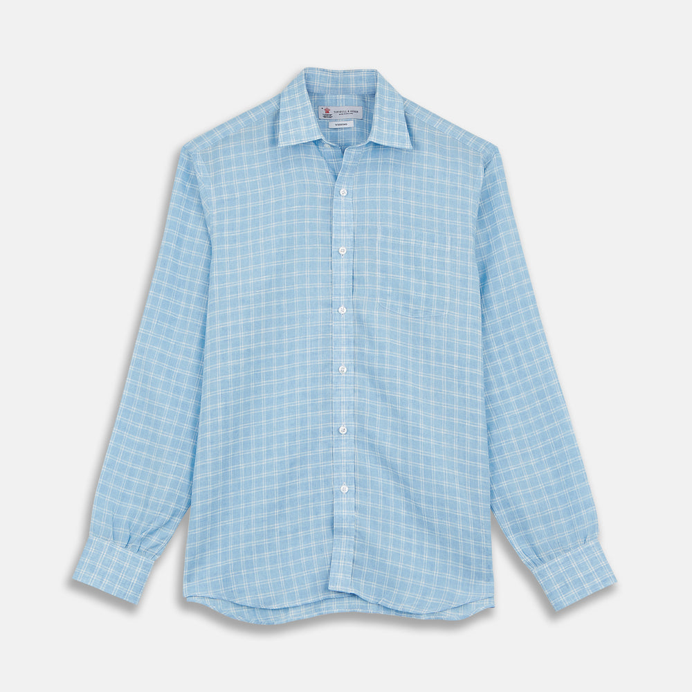 Weekend Fit Blue Plaid Linen Shirt with Derby Collar and 1-Button Cuffs