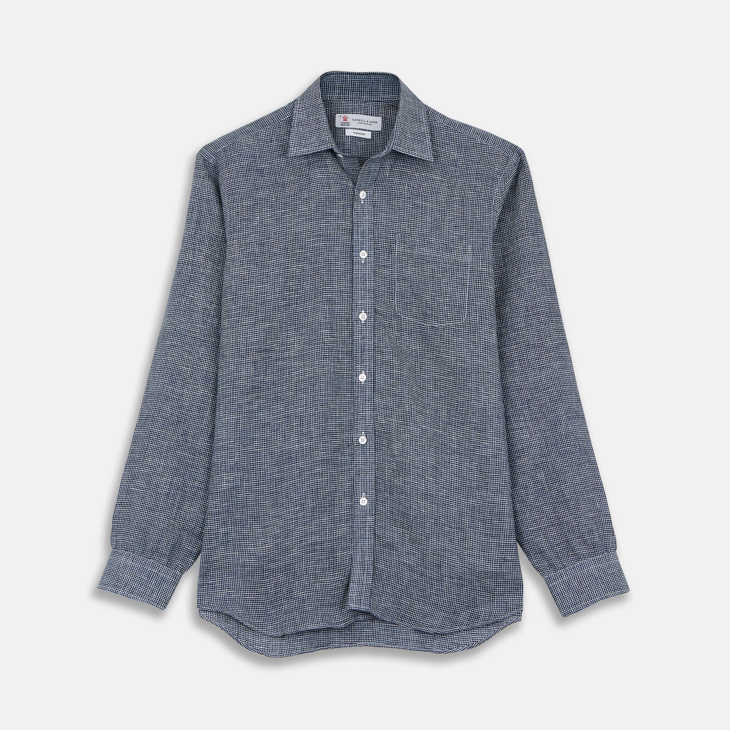 Weekend Fit Navy Check Linen Shirt with Derby Collar and 1-Button Cuffs