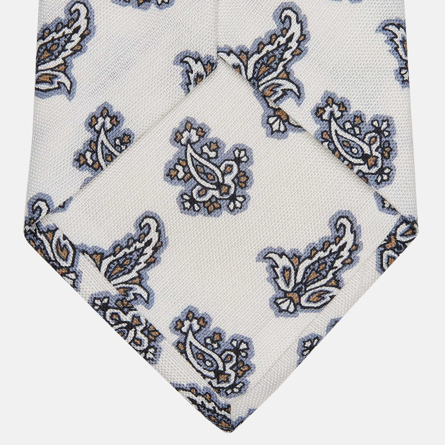 Ecru Paisley Floral Cotton Silk Blend Tie