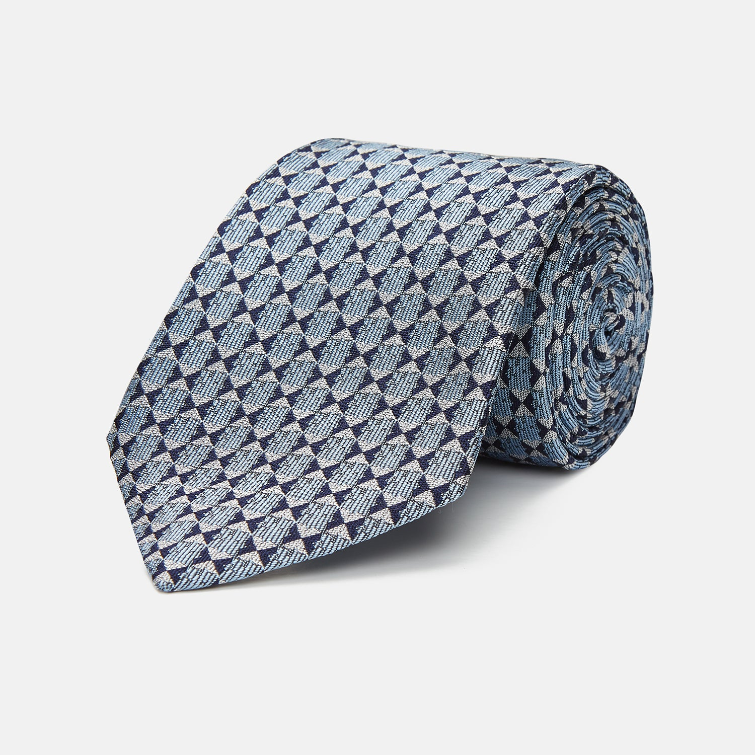 Chambray Blue Graphic Floral Silk Jacquard Tie