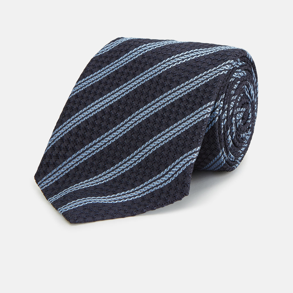 Navy and Light Blue Lace Stripe Silk Tie