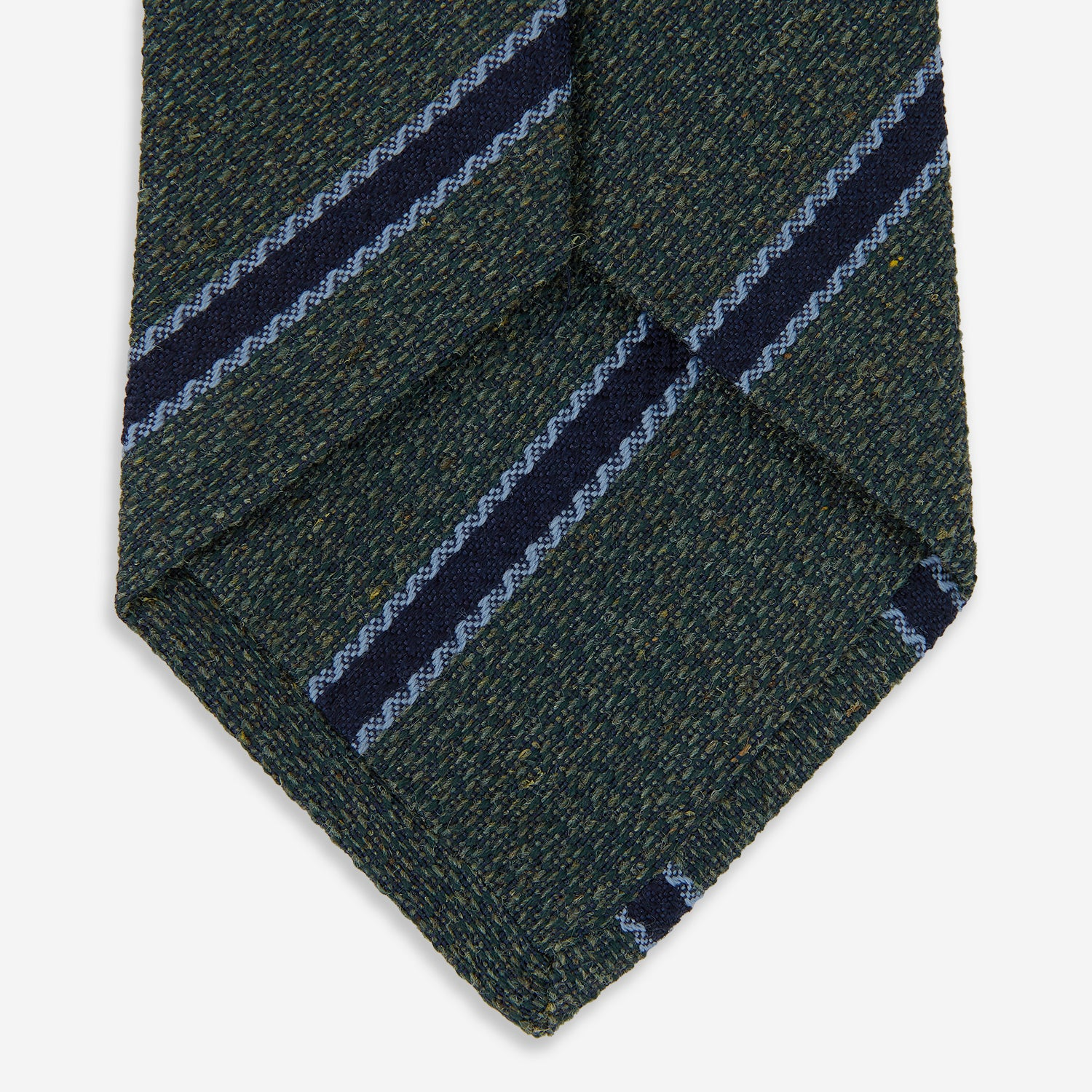 Forest Green Stripe Wool and Silk Tie