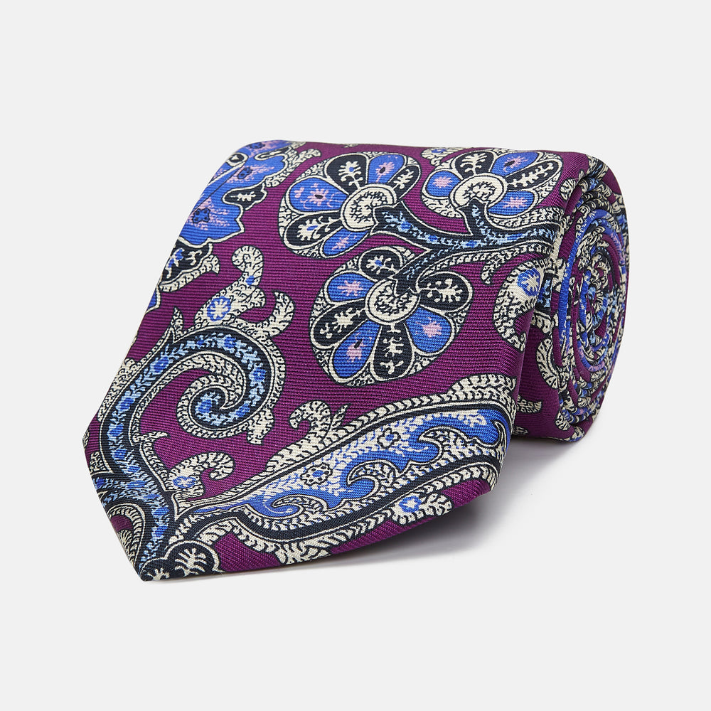 Magenta and Turquoise Twisted Paisley Silk Tie