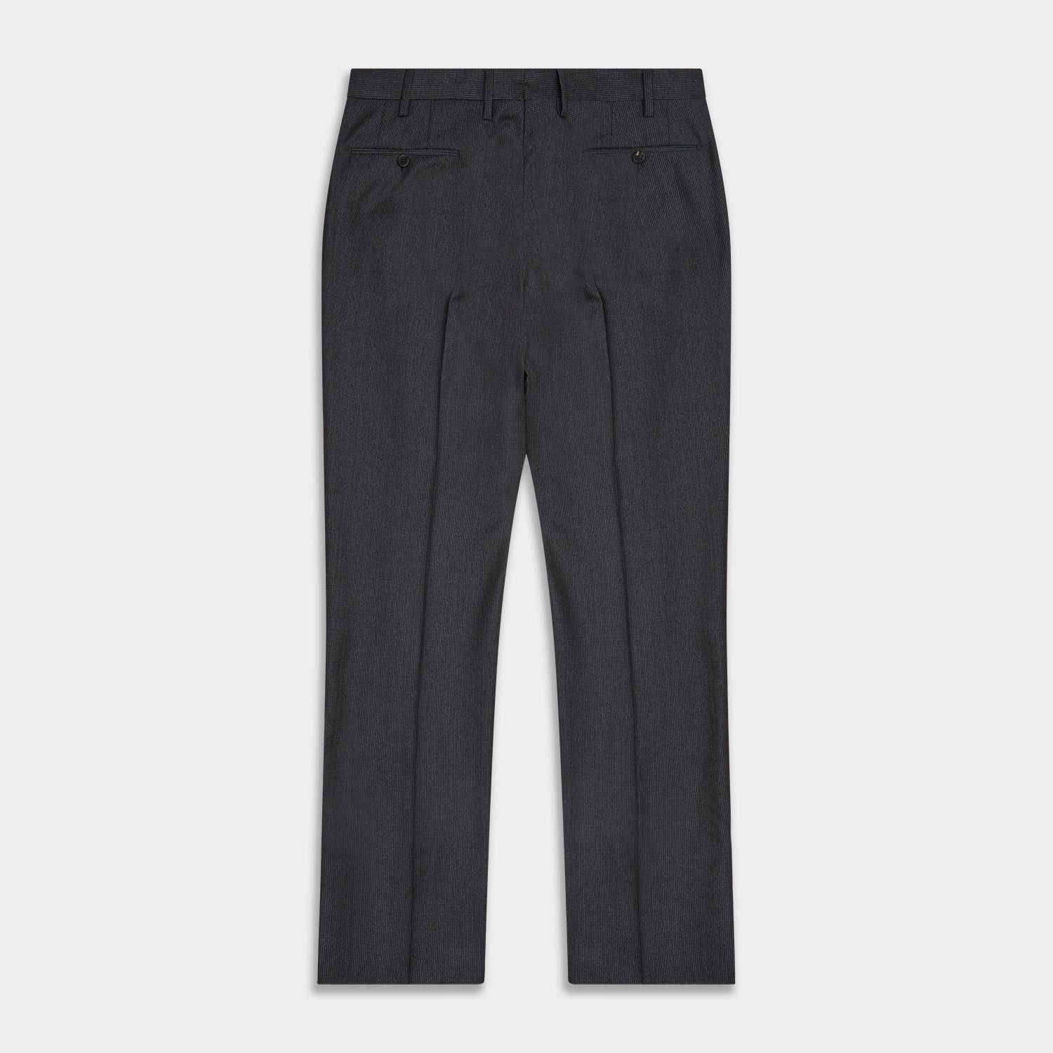 Charcoal Houndstooth Flannel Trousers