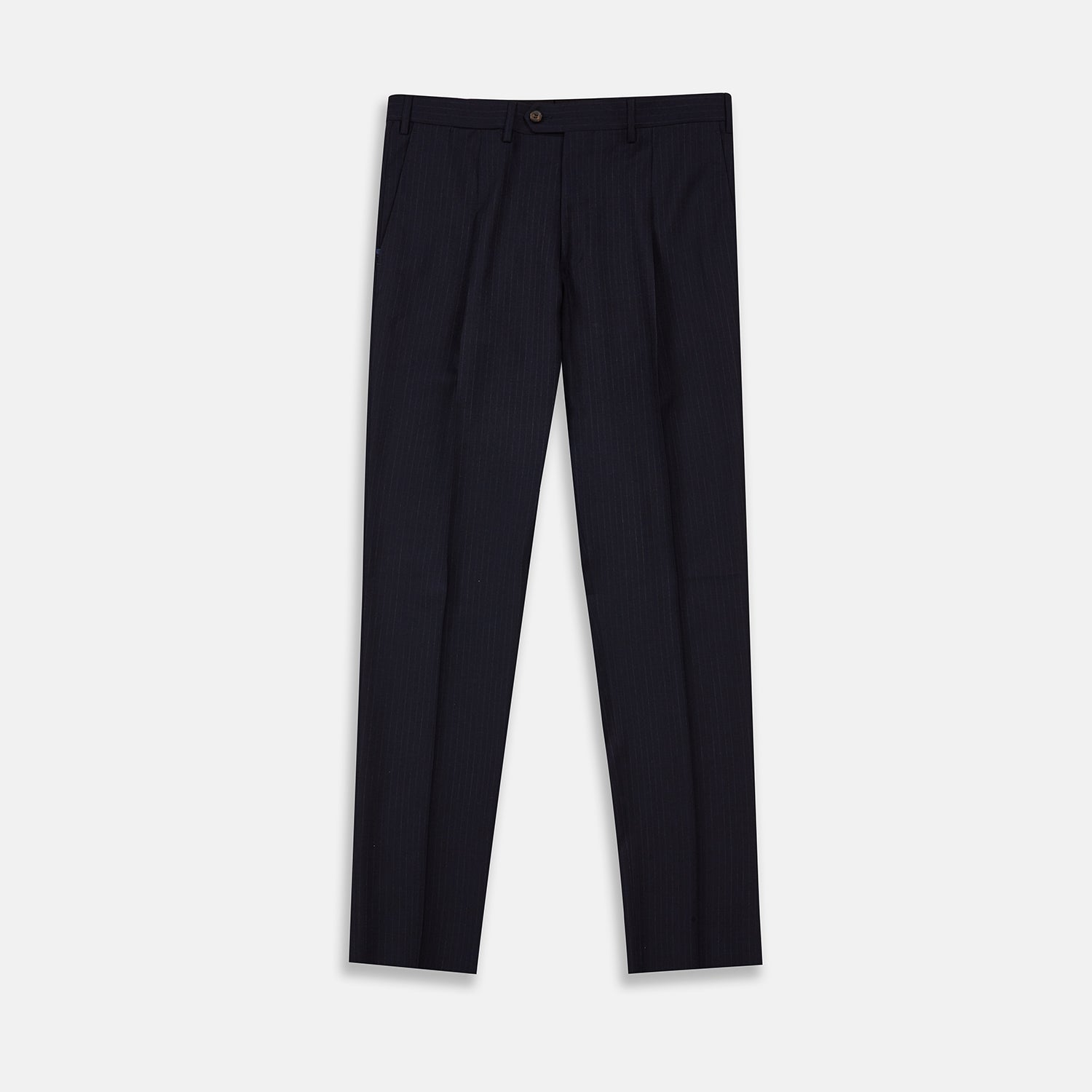 Navy Wool Pinstripe Single Pleat Front Trousers