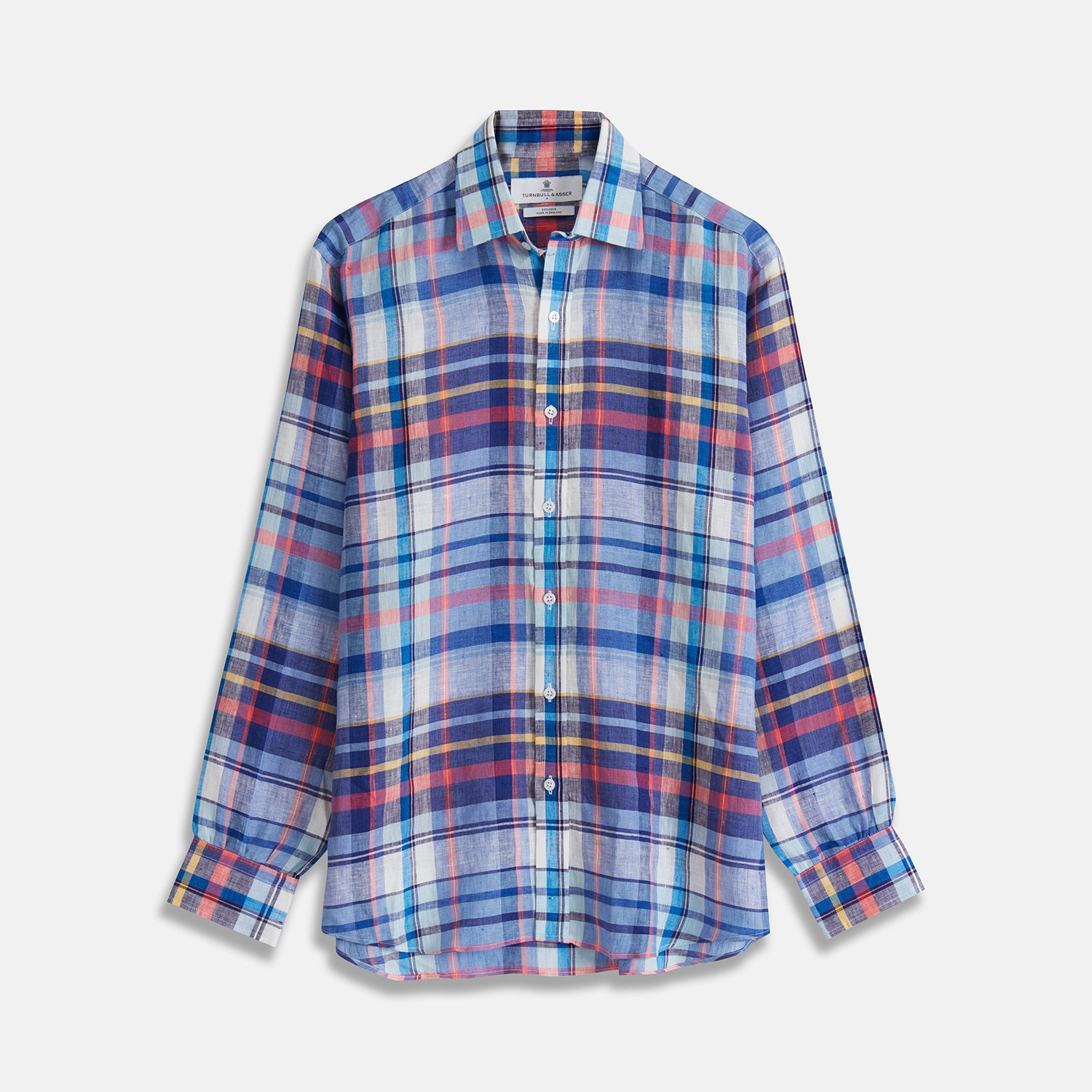 Blue Madras Check Weekend Fit Linen Shirt with Derby Collar and 1-Button Cuff