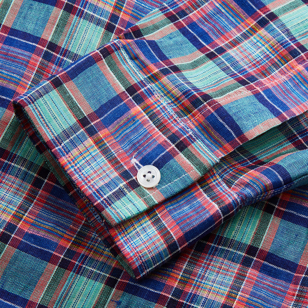 Green and Red Madras Check Weekend Fit Linen Shirt with Derby Collar and 1-Button Cuff