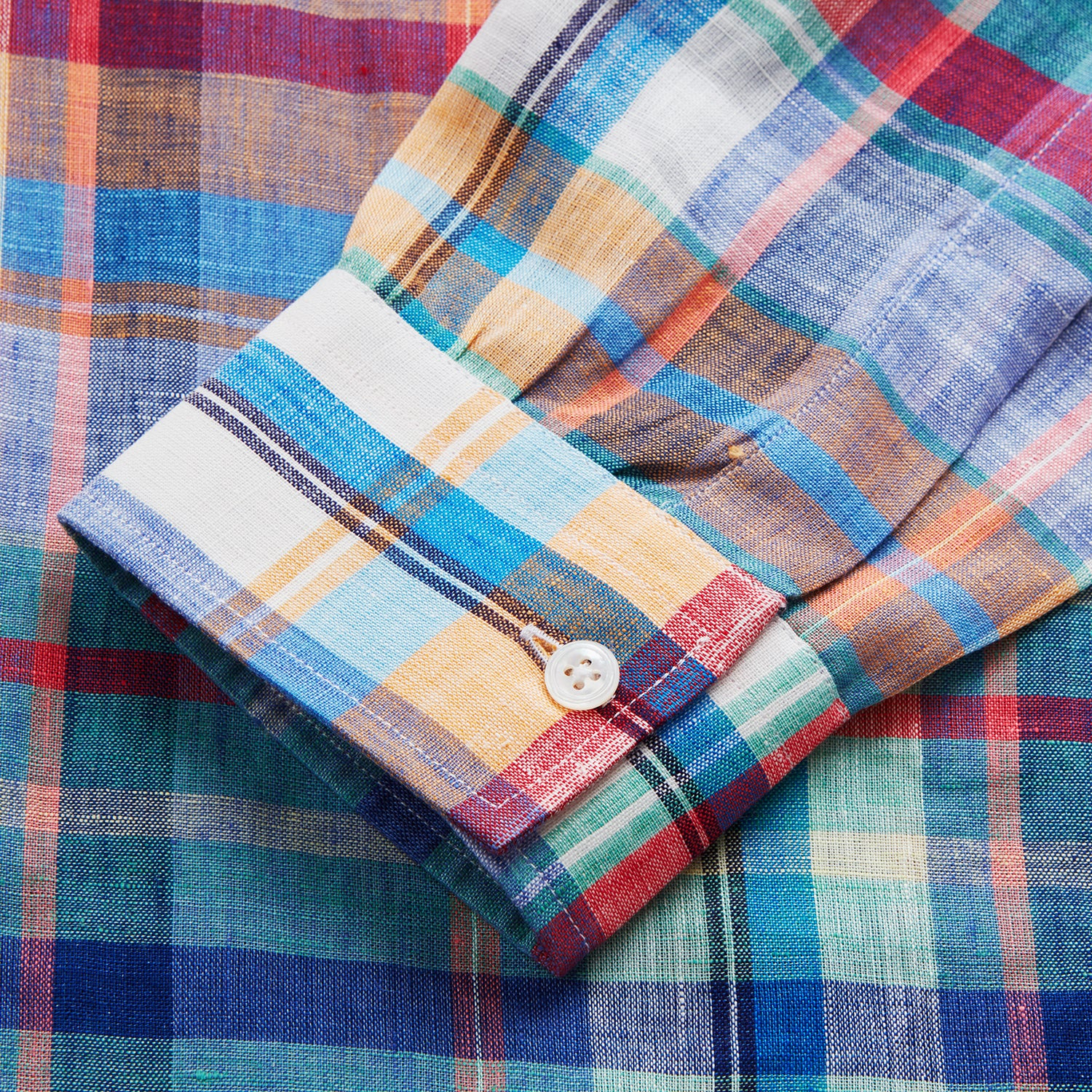Red and Teal Madras Check Weekend Fit Linen Shirt with Stand Collar and 1-Button Cuff