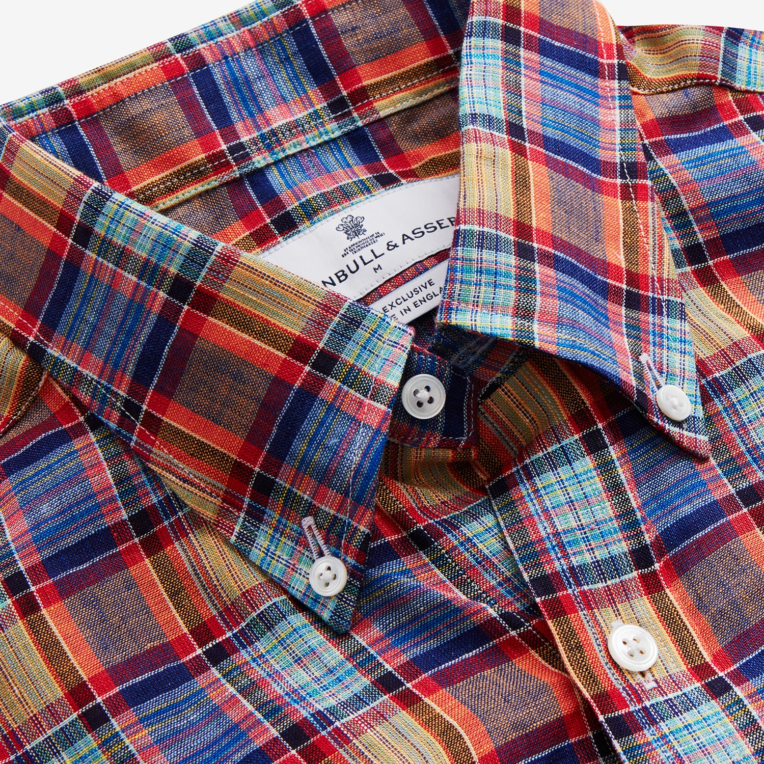 Blue and Orange Madras Check Weekend Fit Short Sleeve Linen Shirt with Dorset Collar