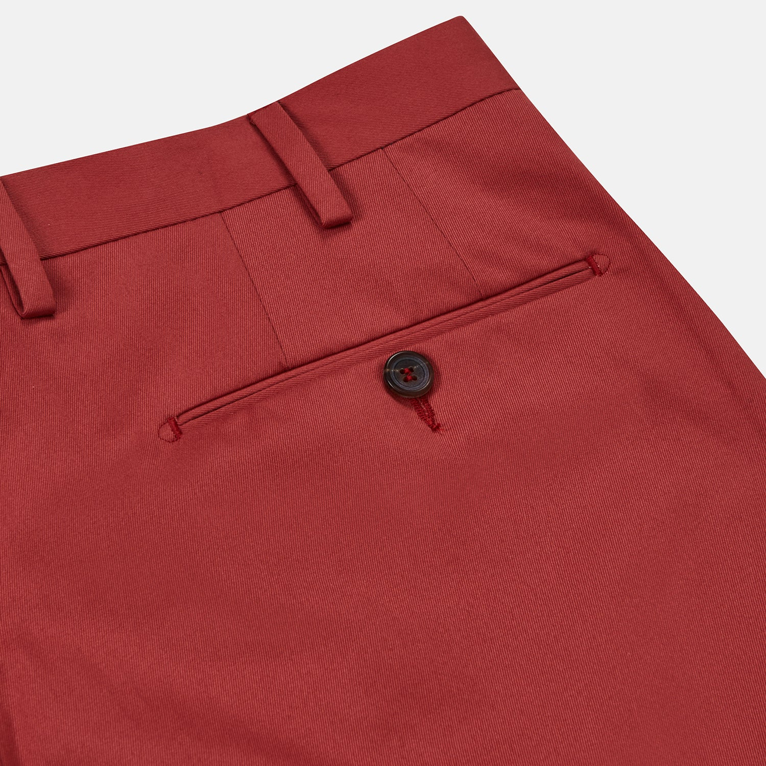 Clay Red Cotton Twill Pleated Trousers