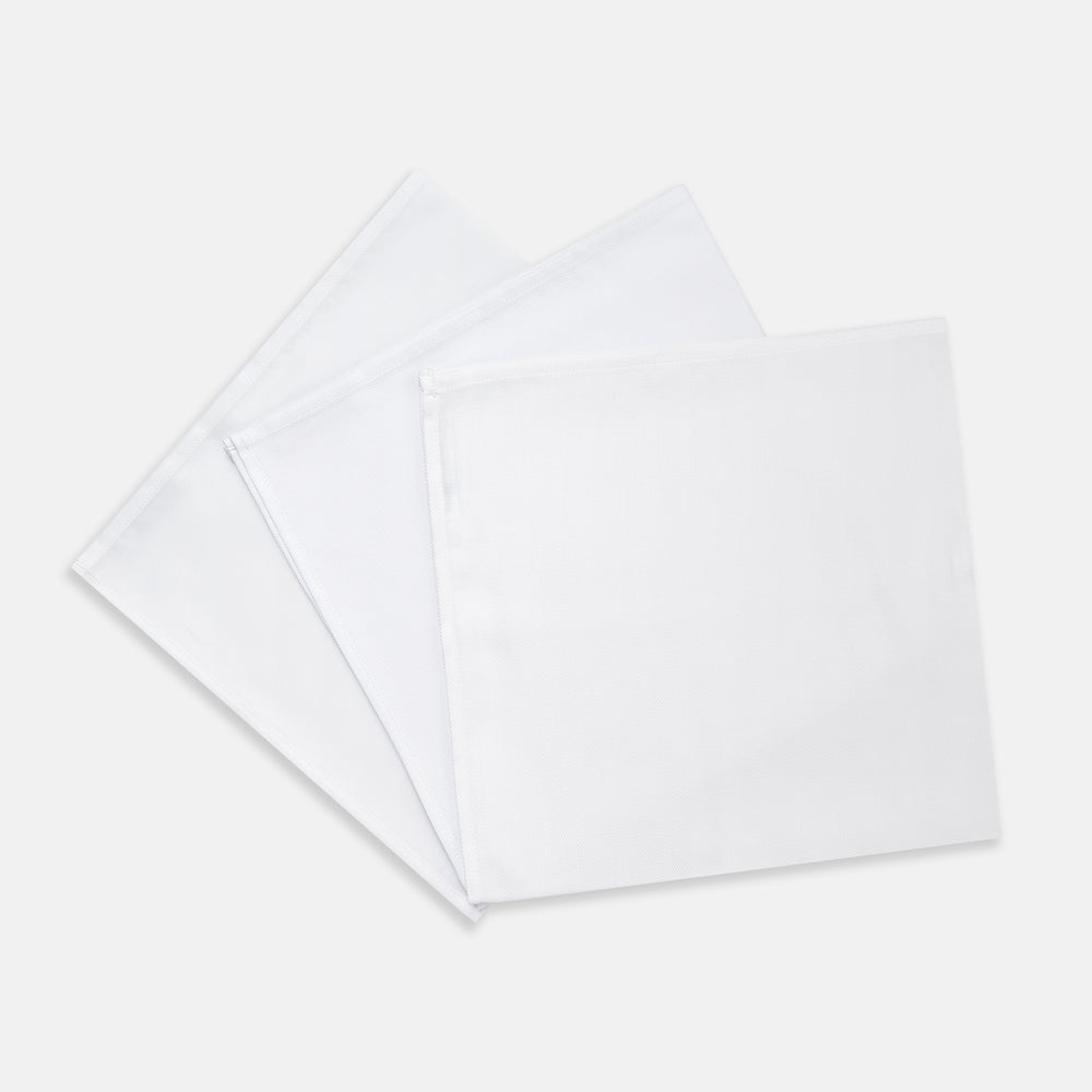 Three-Pack Of Plain White Cotton Handkerchiefs
