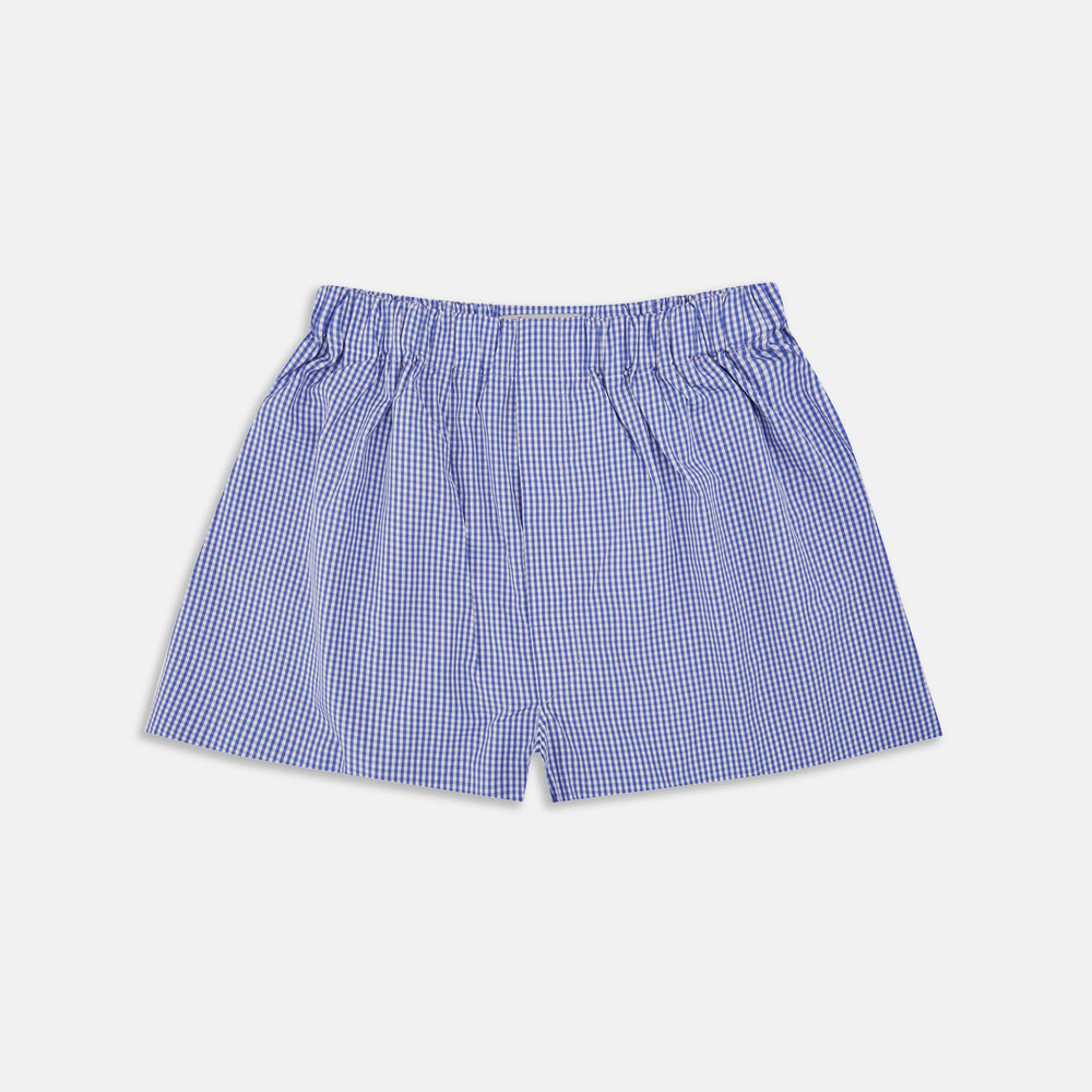 Mid-Blue Gingham Cotton Boxer Shorts