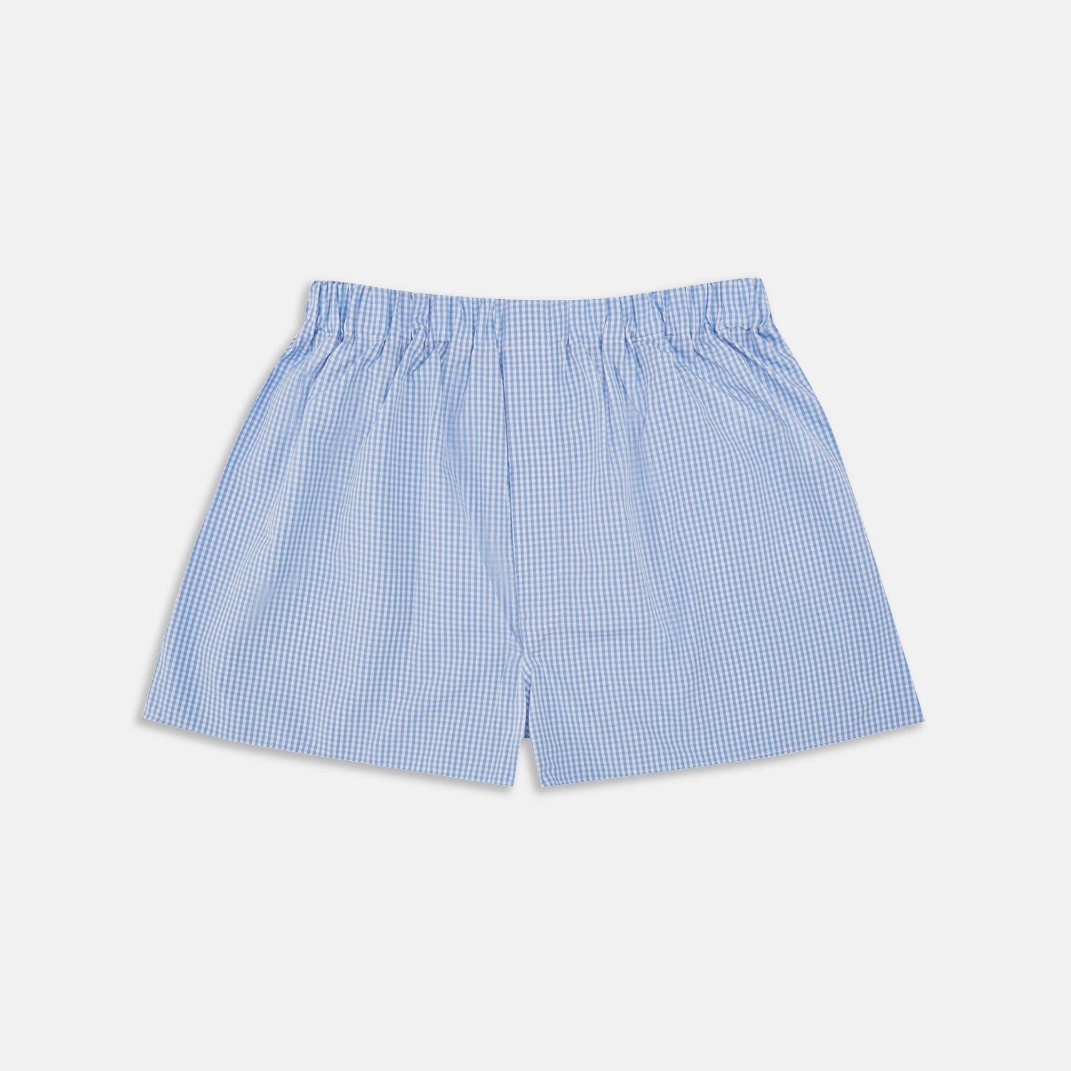 Light Blue Gingham Cotton Boxer Shorts