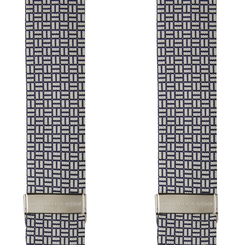 Silver and Charcoal Geometric Adjustable Silk Braces