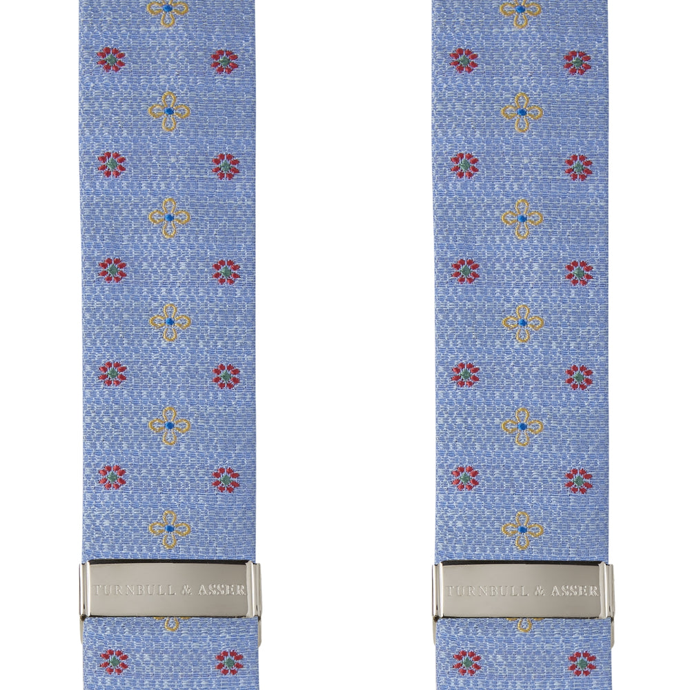 Sky Blue Floral Silk and Linen Adjustable Silk Braces