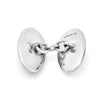 Reversible Monochrome Sterling Silver Oval Cufflinks
