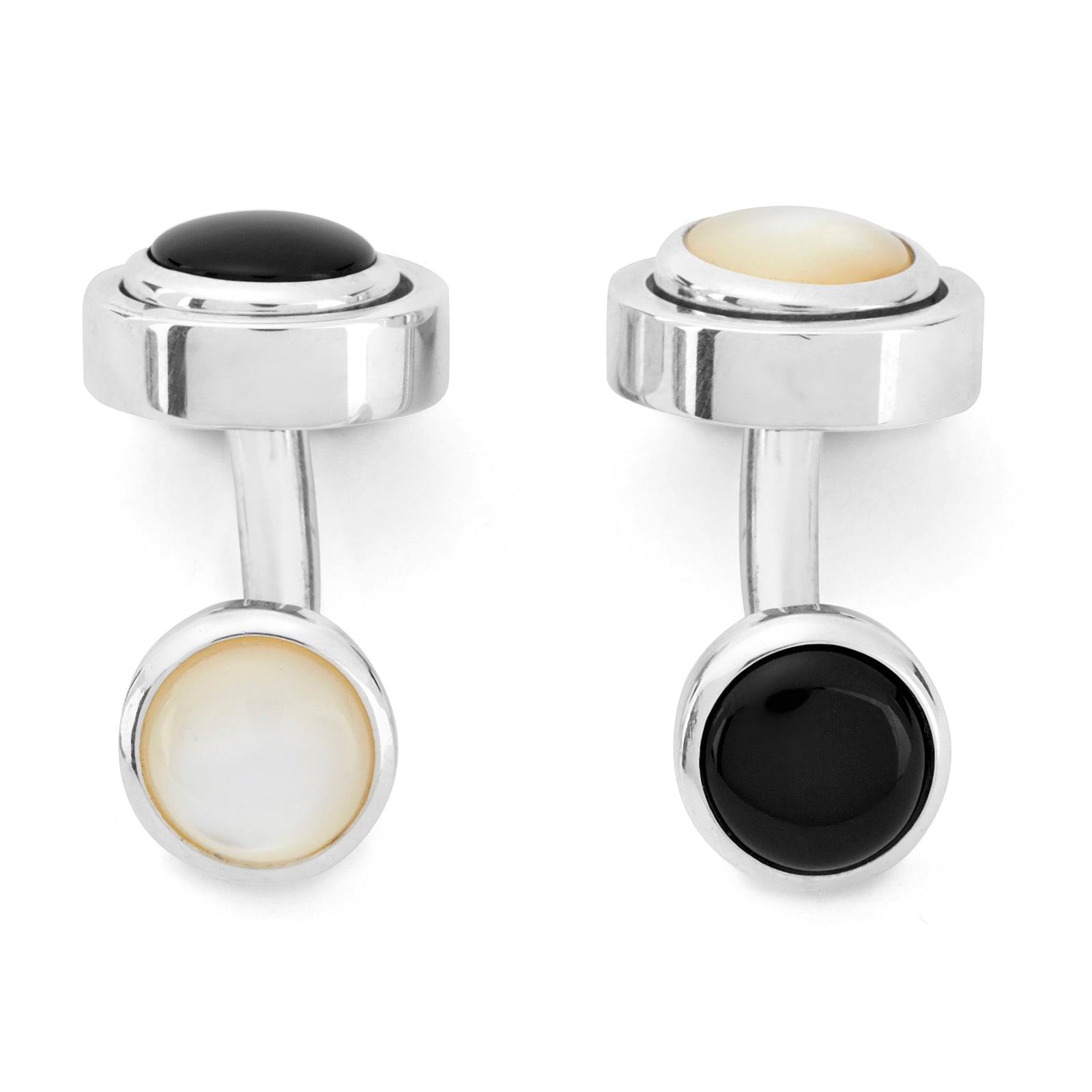 Reversible Monochrome Sterling Silver Round Cufflinks