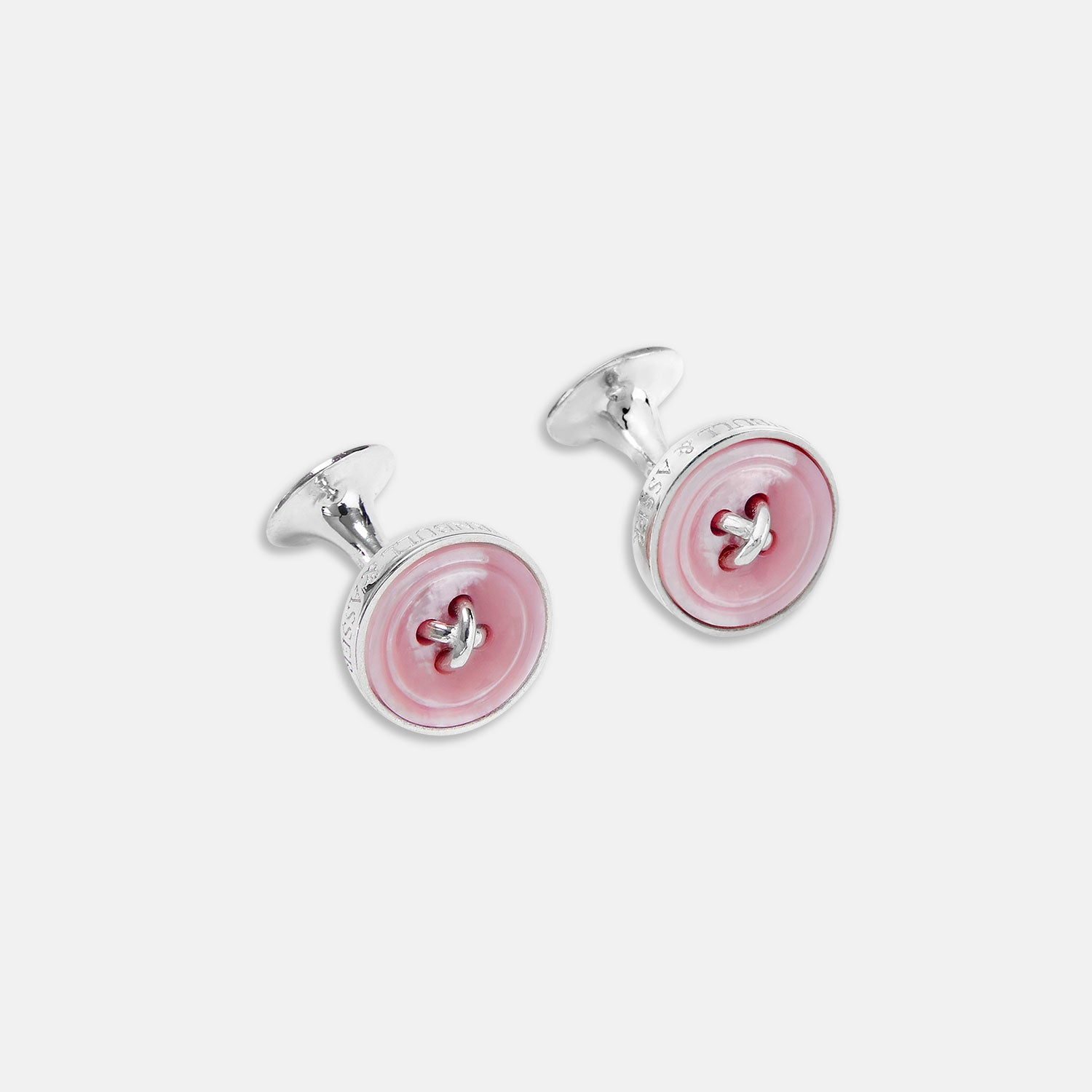 Pink Sterling Silver Mother-of-Pearl Button Cufflinks
