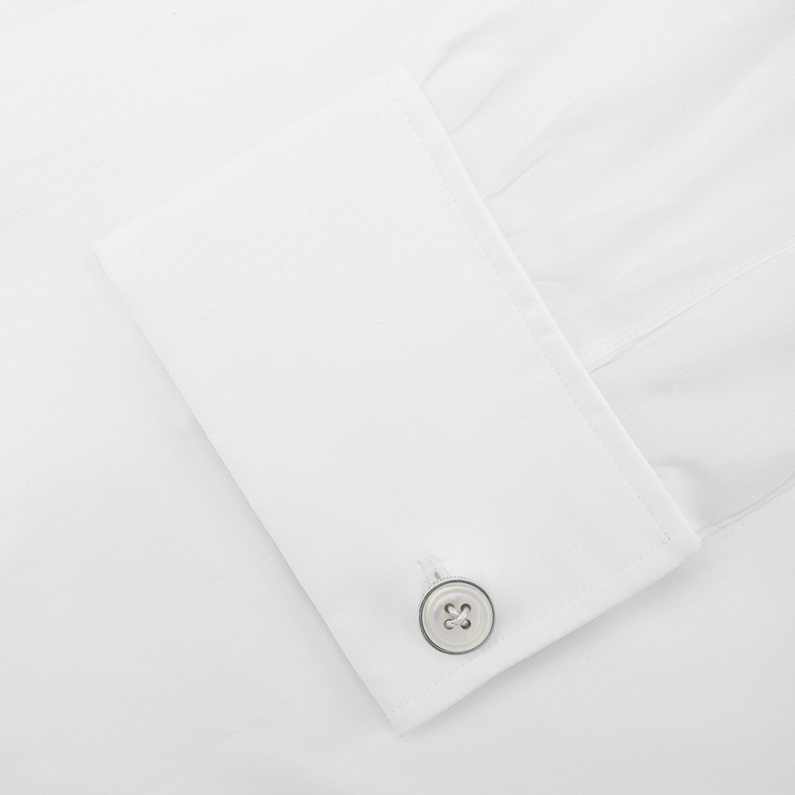 Monogrammed White Sterling Silver Mother-of-Pearl Button Cufflinks