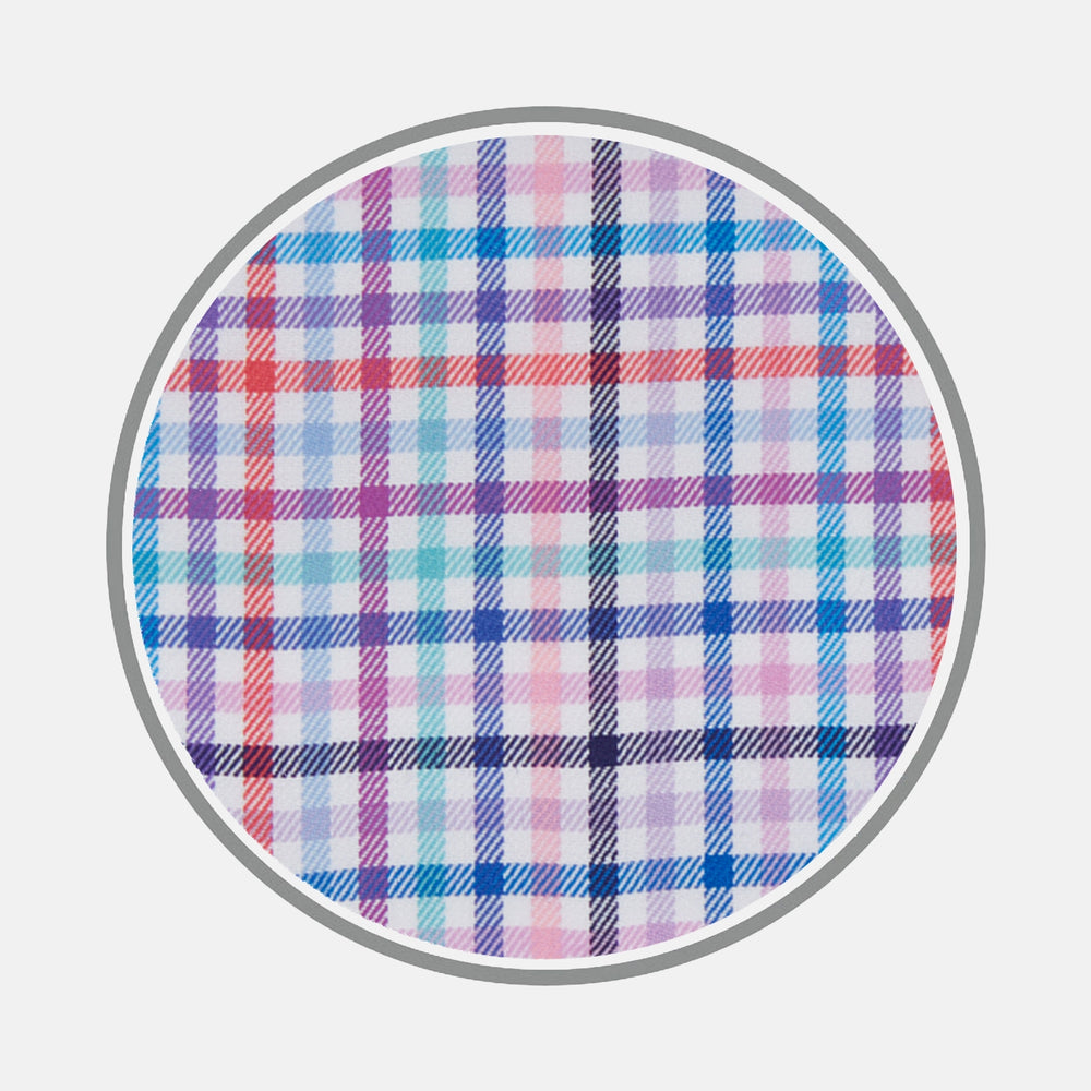 Blue, Pink and Red Graph Check Cotton Fabric