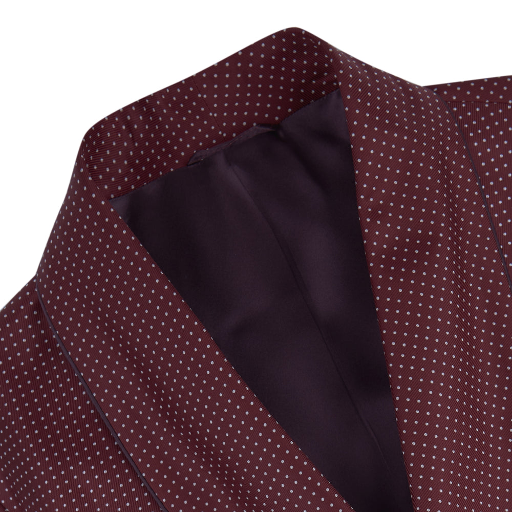Burgundy Piped Silk Spot Gown