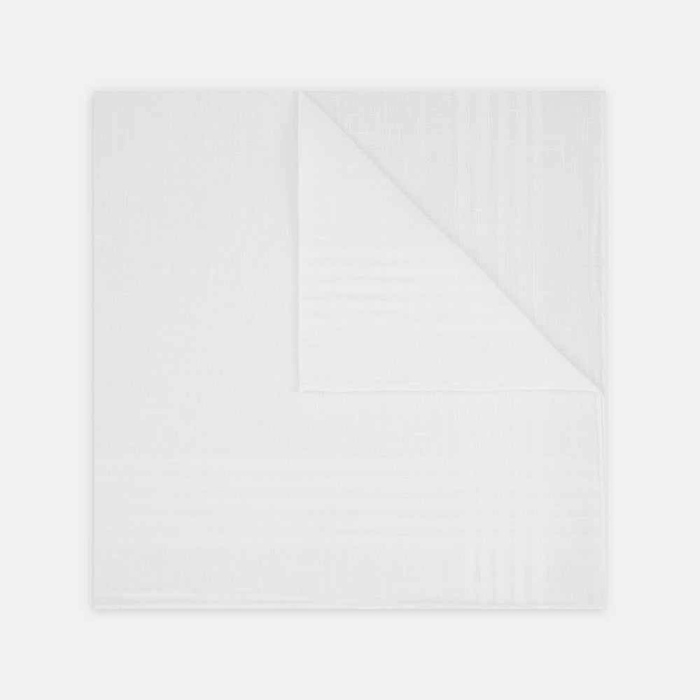 White Cross Stripe Hand-Rolled Linen Handkerchief