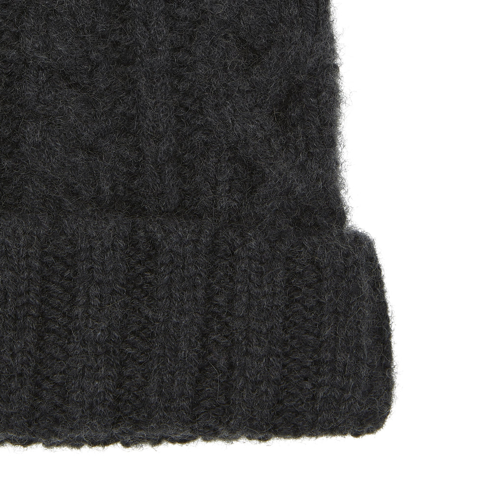 Charcoal Cable Knit Cashmere Hat