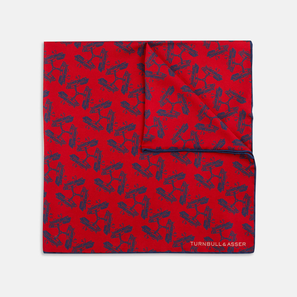 Thunderbirds Five Red Silk Pocket Square