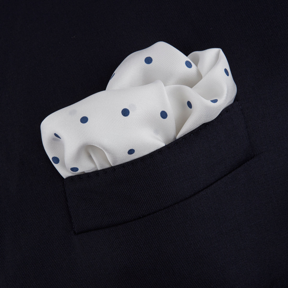 White and Navy Spot Silk Pocket Square