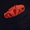 Dark Orange and White Piped Silk Pocket Square