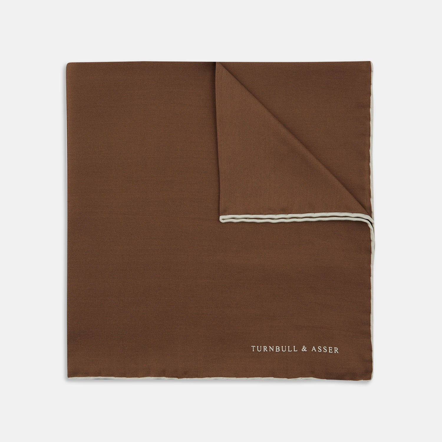Brown and White Piped Silk Pocket Square