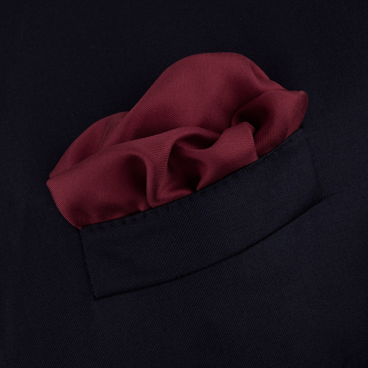 Burgundy and White Piped Silk Pocket Square