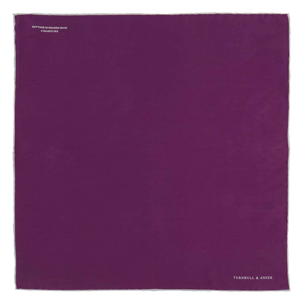 Plain Purple Silk Pocket Square with White piping