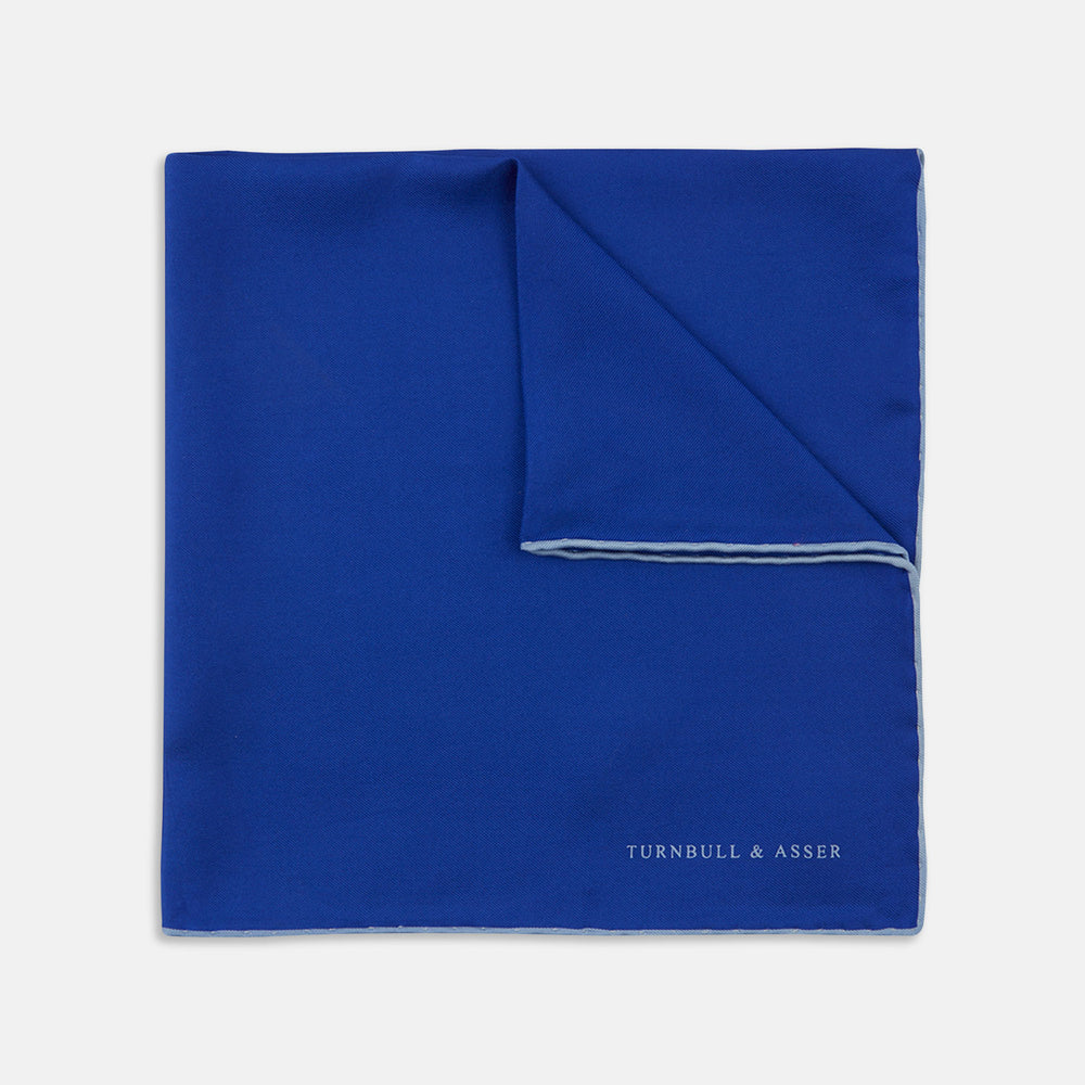 Dark Blue Piped Silk Pocket Square