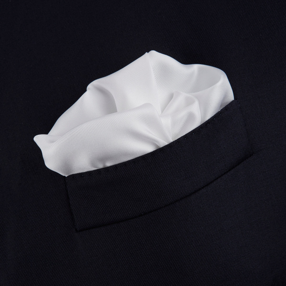 White and Black Piped Silk Pocket Square