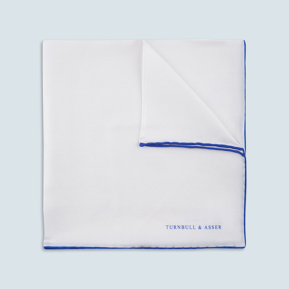 White and Navy Piped Silk Pocket Square