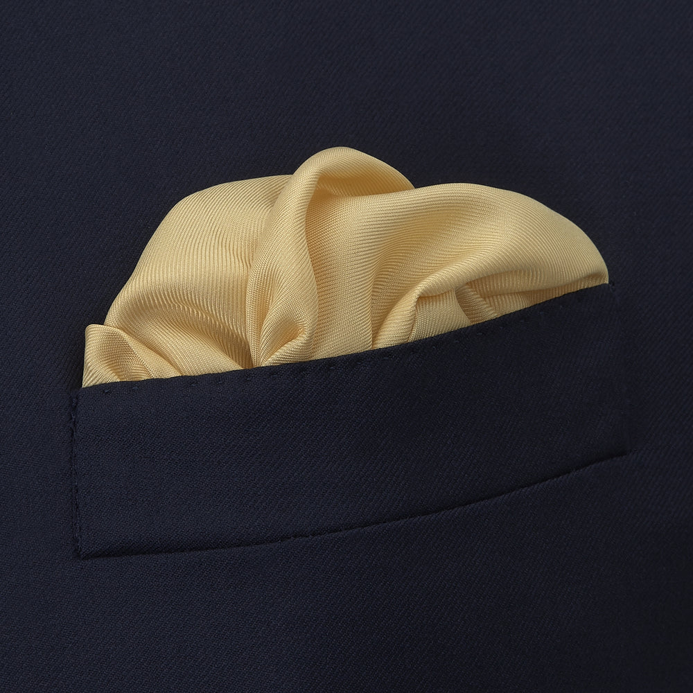 Yellow and Navy Piped Silk Pocket Square