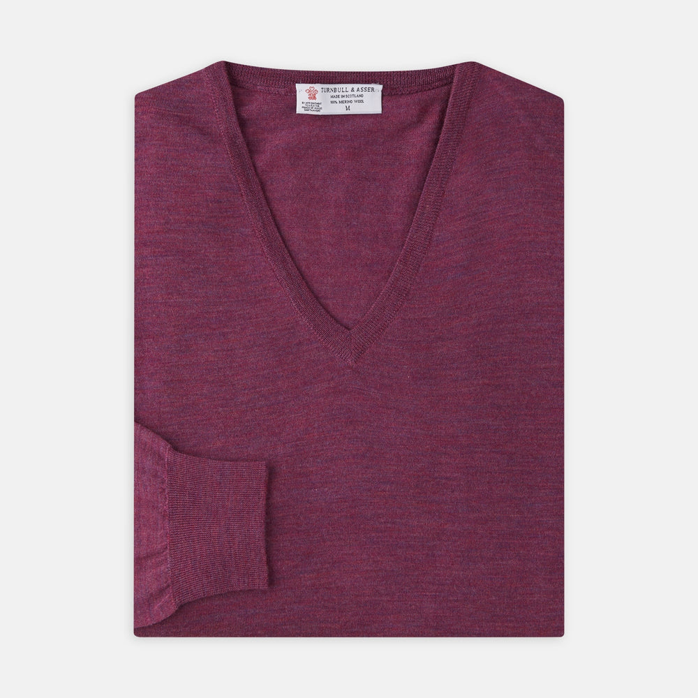 Plum Fine Merino V-Neck Jumper