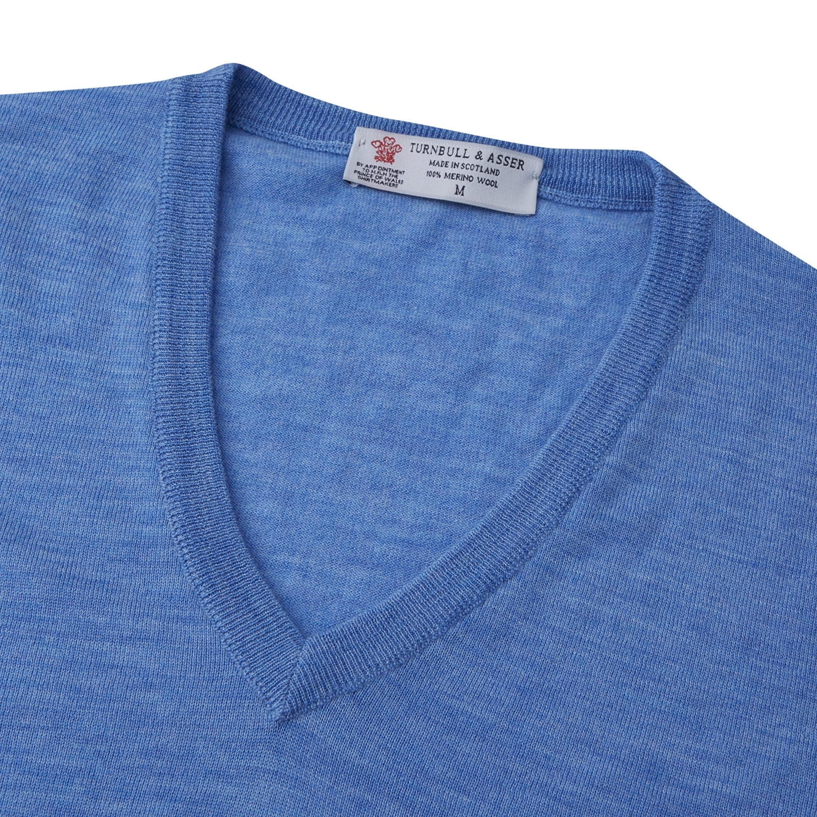 Sky Blue Fine Merino V-Neck Jumper