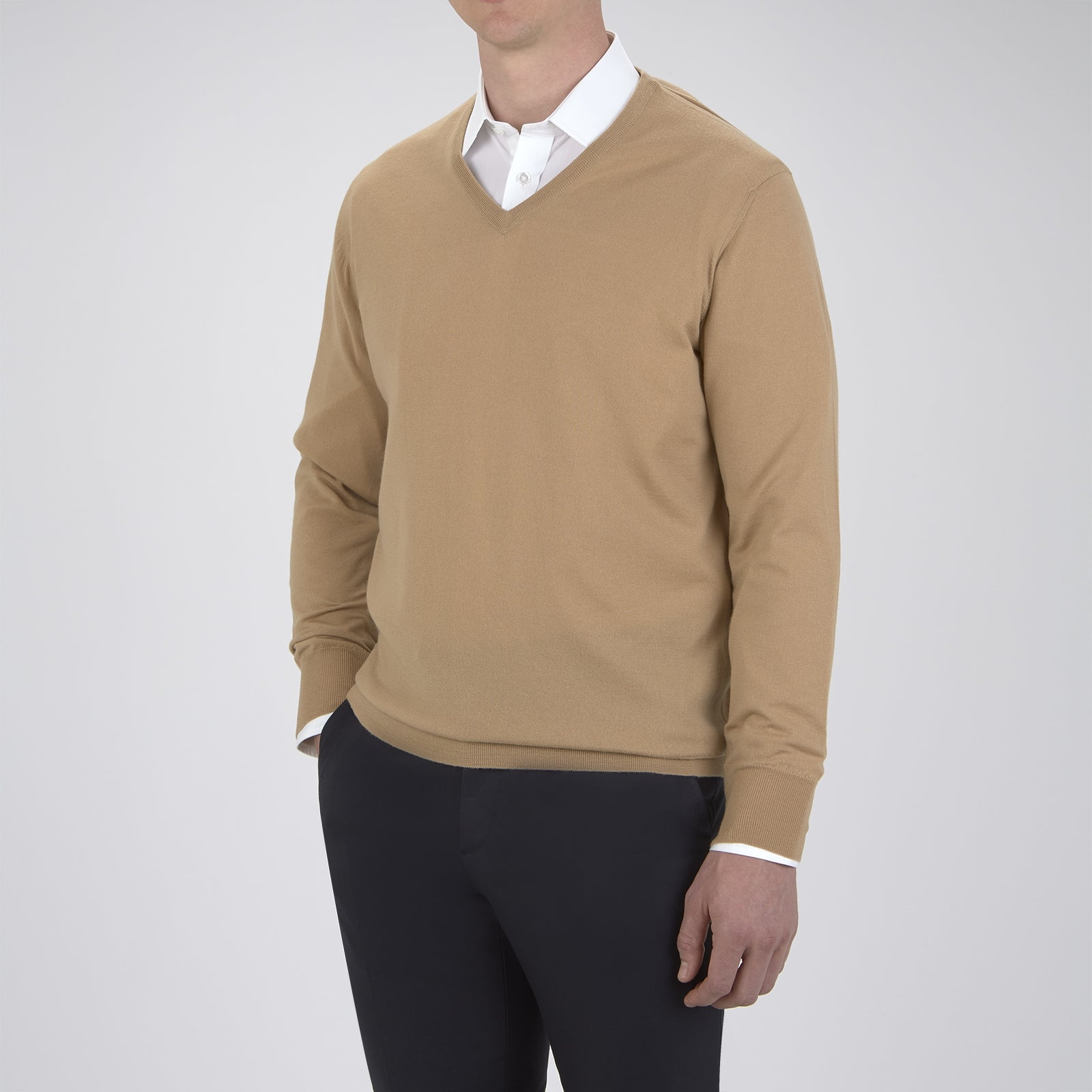 Camel  V-Neck Merino Wool Jumper