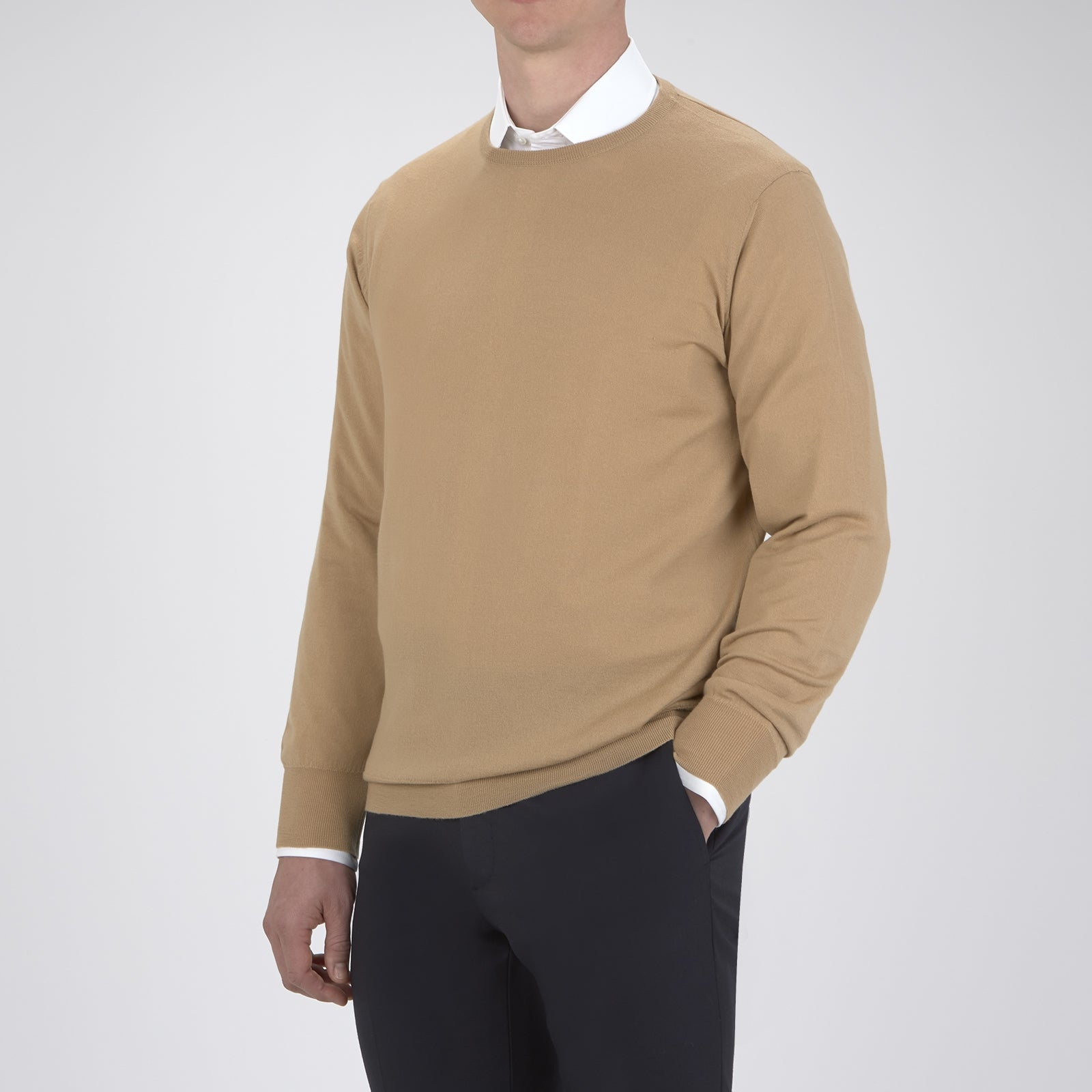 Camel Crew Neck Merino Wool Jumper