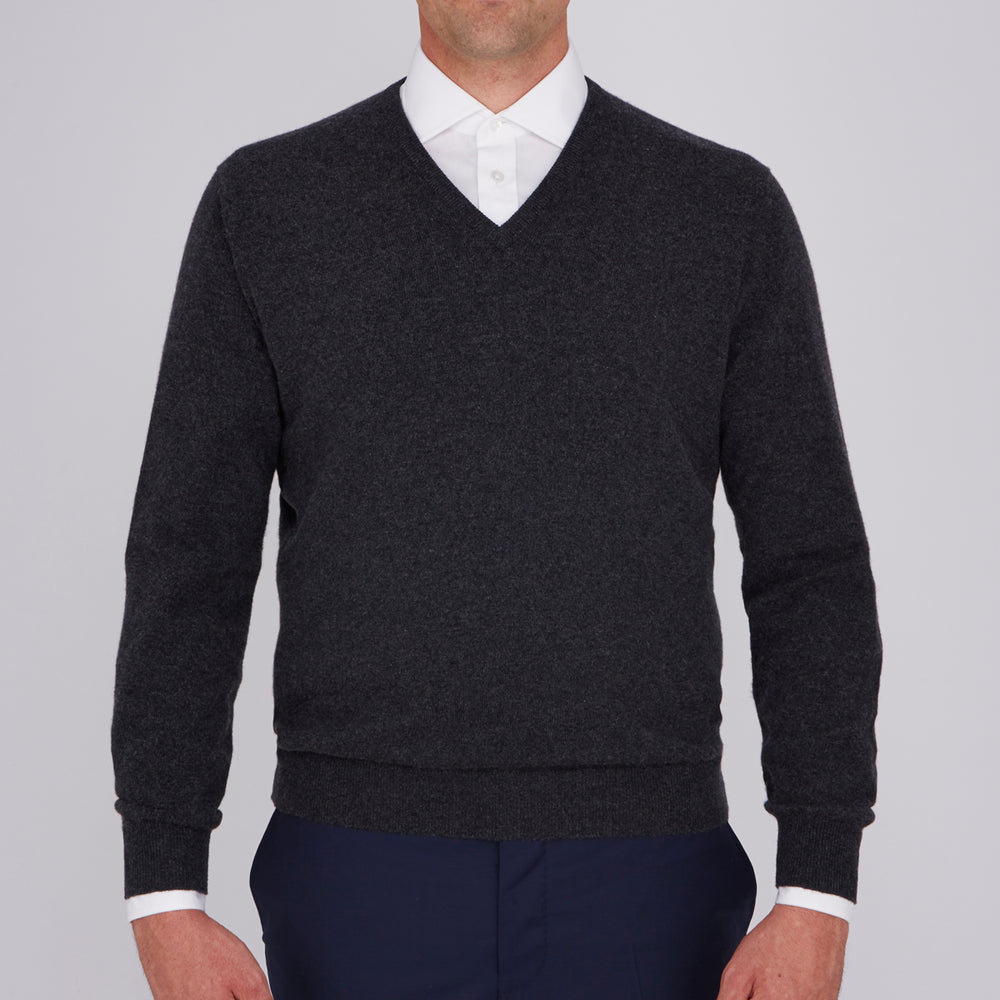 Charcoal V-Neck Cashmere Jumper