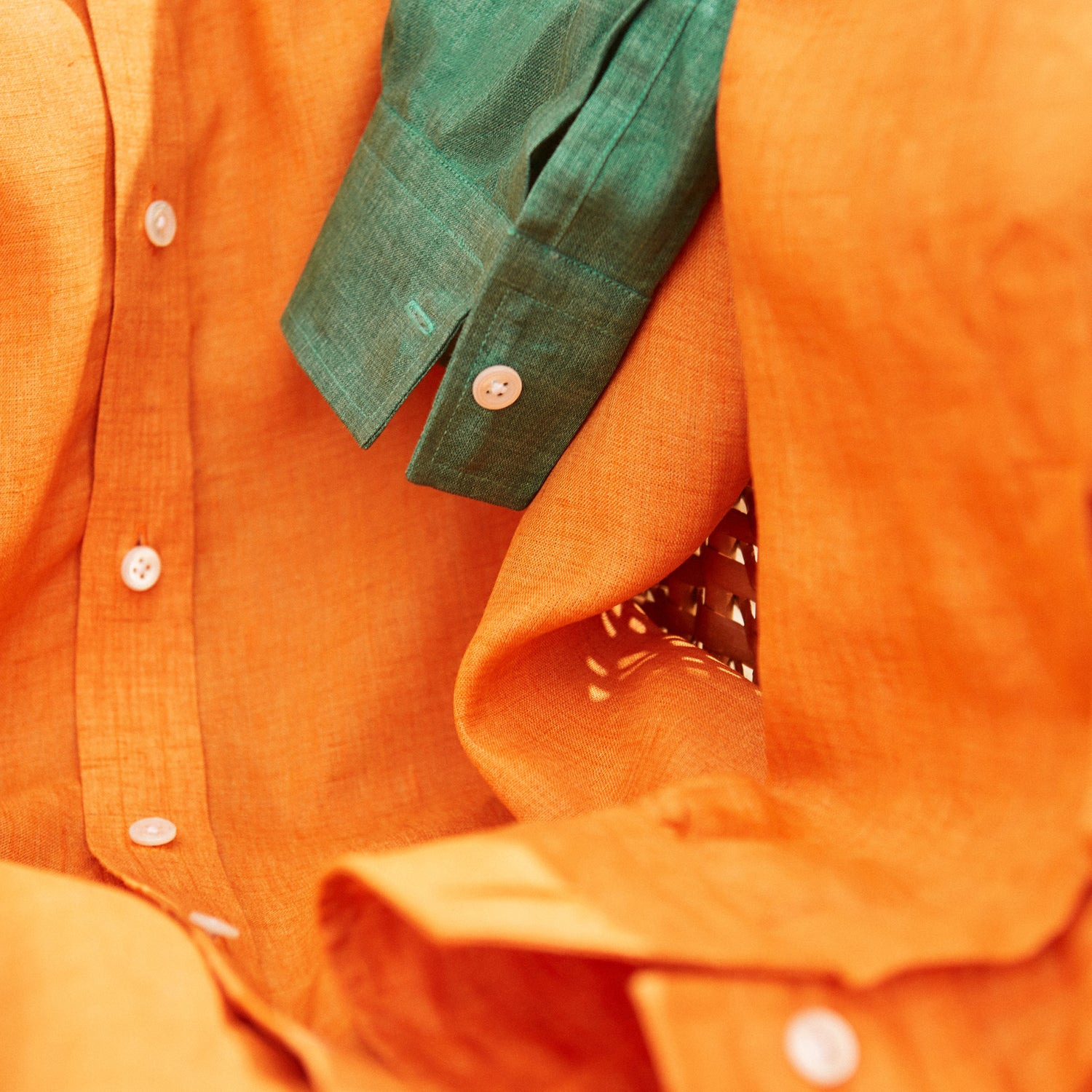 Orange Weekend Fit Long Sleeve Linen Shirt with Derby Collar and 1-Button Cuff