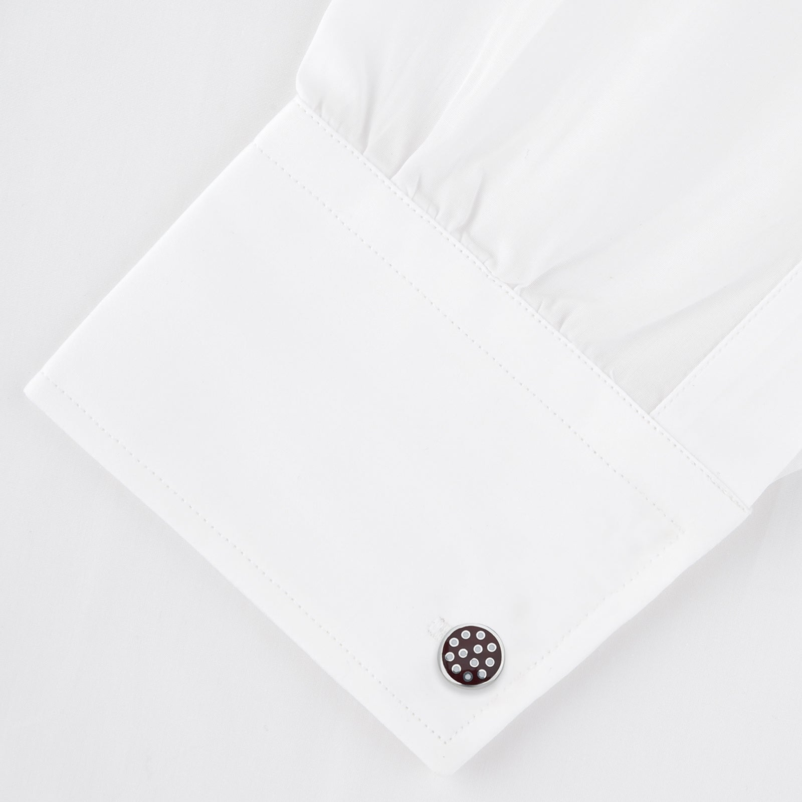 Spotted Burgundy and White Sterling Silver Enamelled Cufflinks