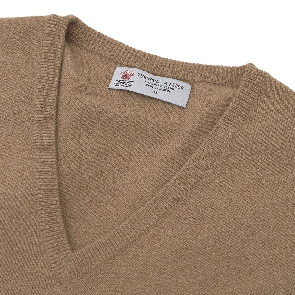 Natural V-Neck Cashmere Jumper